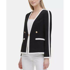 CALVIN KLEIN Black Contrast Trim Blazer Jacket